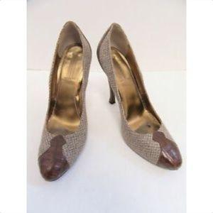BOTTEGA VENETA tweed embossed leather pumps sz39.5
